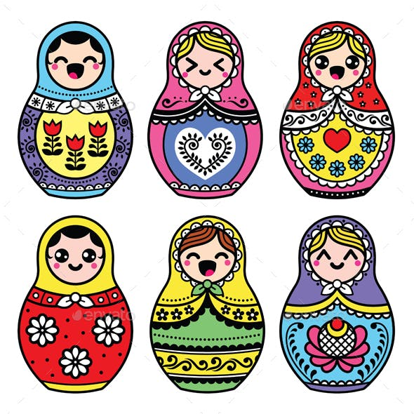 Kawaii Russian Nesting Doll - Matryoshka Figurine