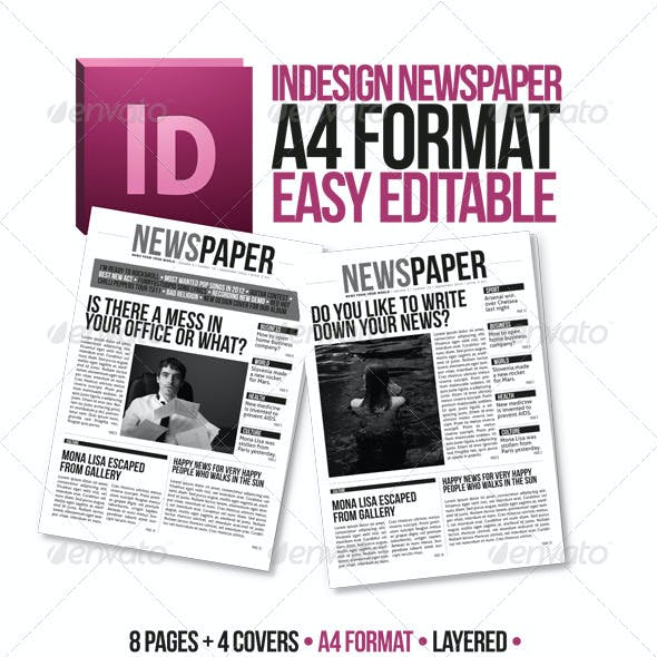 Indesign Modern Newspaper Magazine Template A4