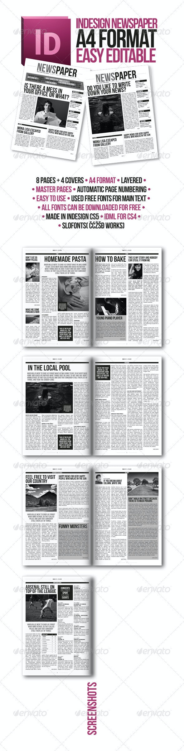Indesign Modern Newspaper Magazine Template A4 - Newsletters Print Templates