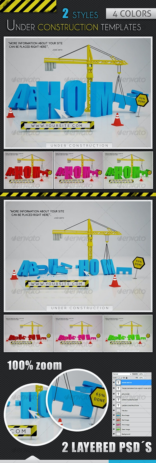 Under Construction Templates - 2 Styles - 4 Colors - Miscellaneous Web Elements