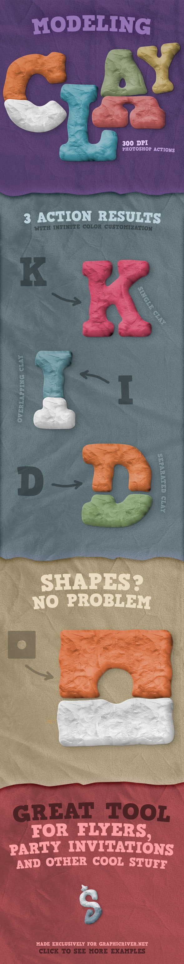 Modeling Clay - Photoshop Actions - Text Effects Actions