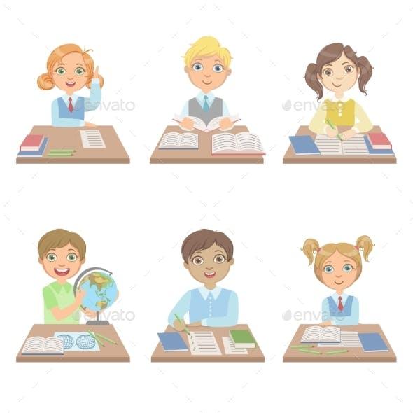 Kids Behind The Desks In School Set