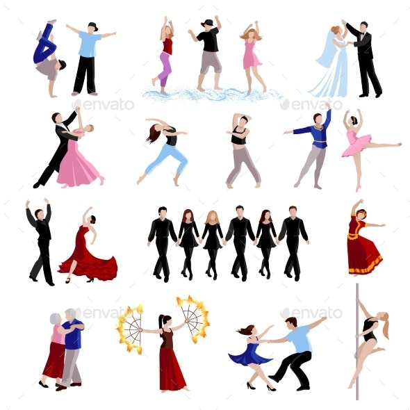 Dancing People Icons Set - People Characters