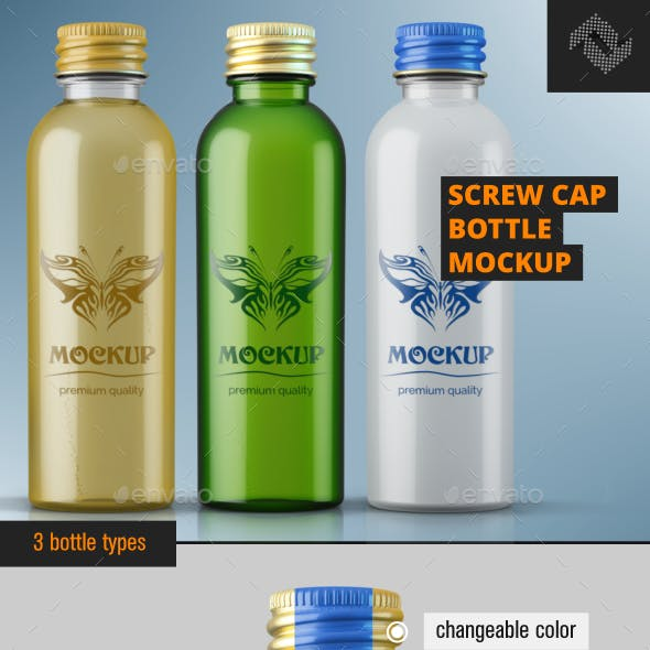 Screw Cap Bottle Mockup