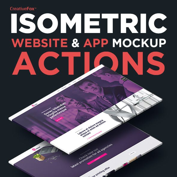 Isometric Website & App Mockup Actions