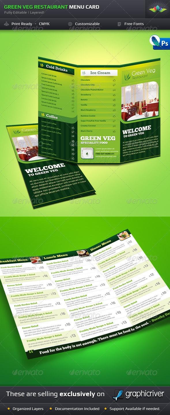Green Veg Restaurant Tri-Fold Menu Card - Food Menus Print Templates