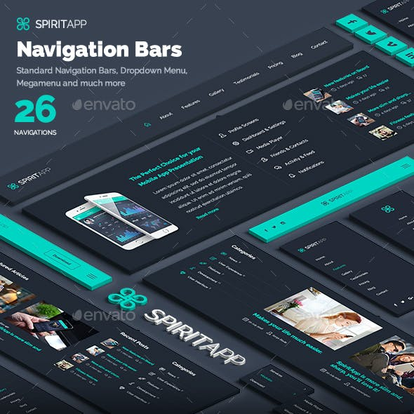 SpiritApp Navigation Bars for Landing Pages