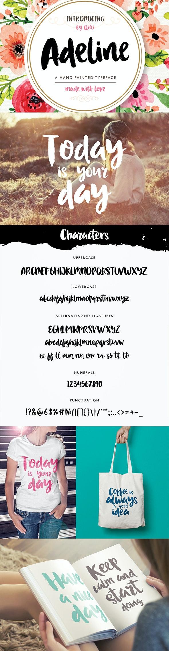 Adeline Typeface - Brush Script - Hand-writing Script