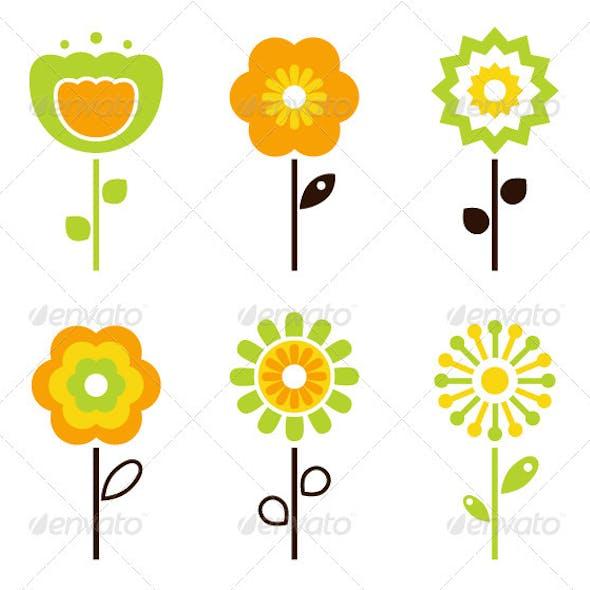 Set of retro flower elements for easter - spring