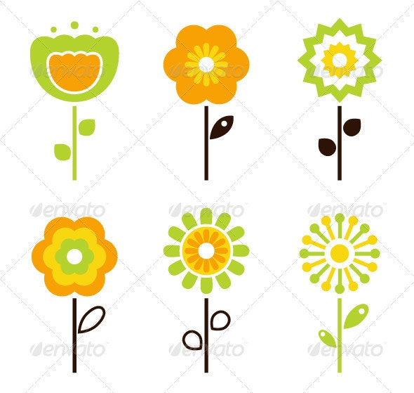 Set of retro flower elements for easter - spring - Flowers & Plants Nature