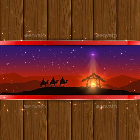 Christmas Scene on Wooden Background