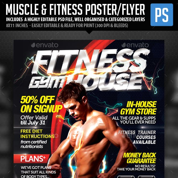 Fitness Gym & Muscle Flyer PSD Template