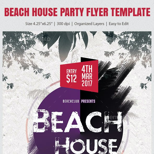 Beach House Party Flyer Template
