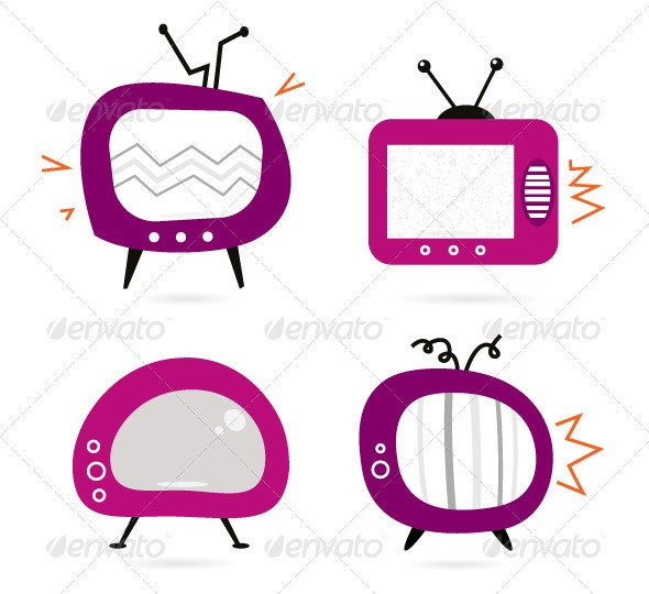 Old retro pink tv collection isolated on white - Retro Technology