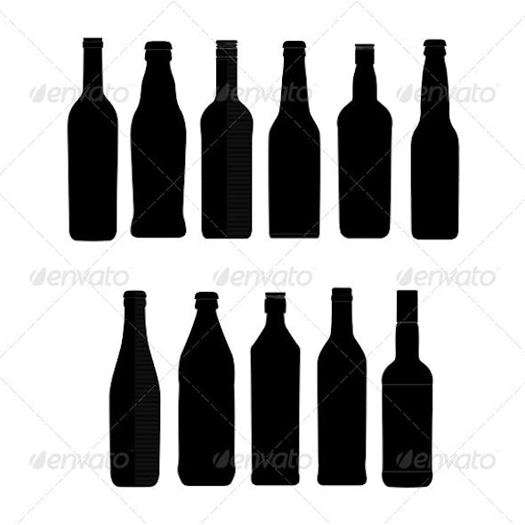 Abstract bottle sign set black color isolated