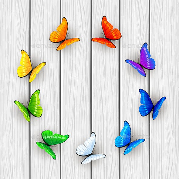 Butterflies on White Wooden Background