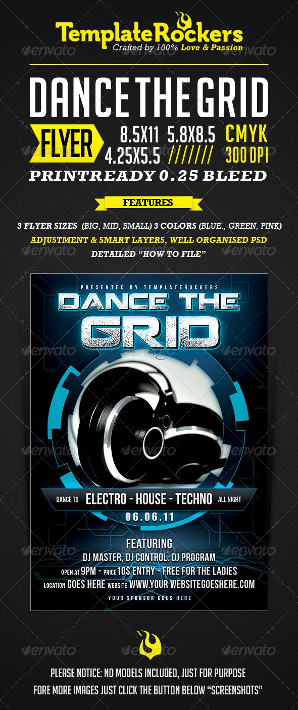 The Grid -  Flyer / Poster 3 SIZES - Clubs & Parties Events