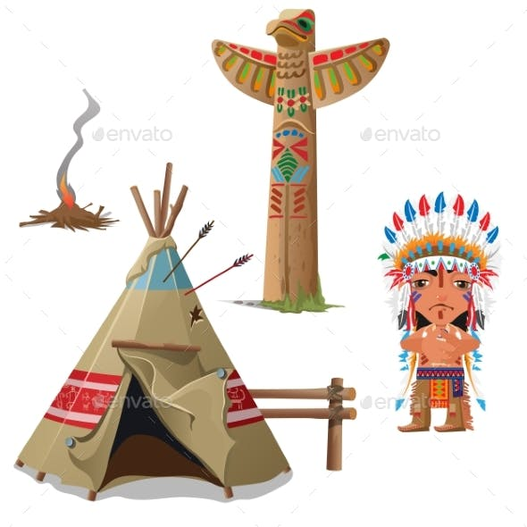 Man, Wigwam, Bird Totem And Fire. Indian Set