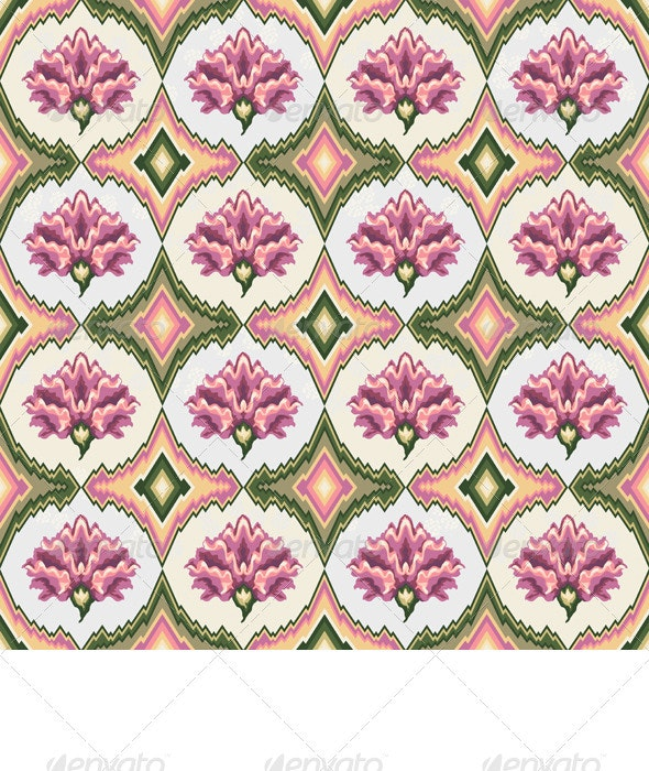 Vector Seamless Pink Floral Pattern - Patterns Decorative