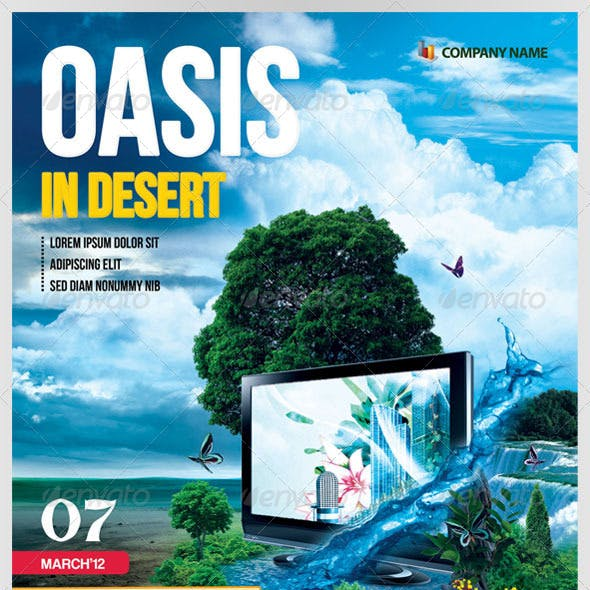"""Oasis In Desert"" Advertising Flyer"