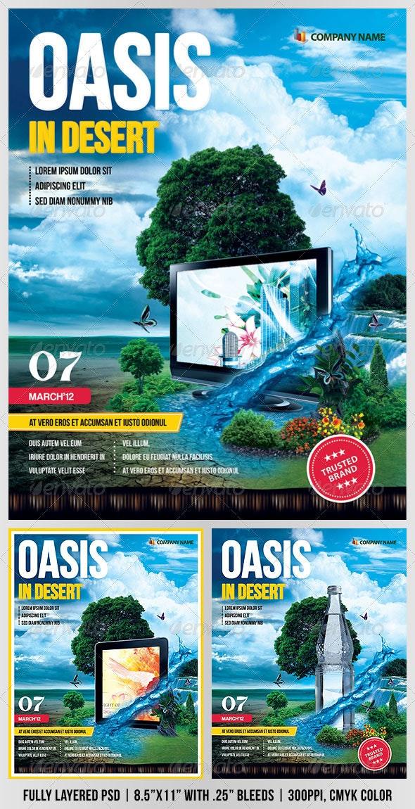 """Oasis In Desert"" Advertising Flyer - Flyers Print Templates"