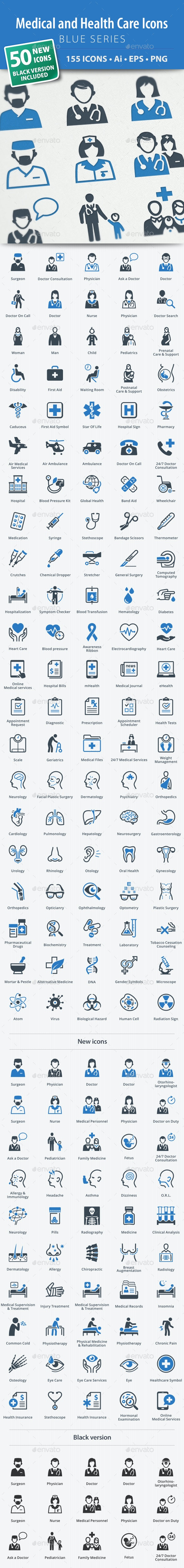 Medical & Health Care Icons - Blue Series - Web Icons