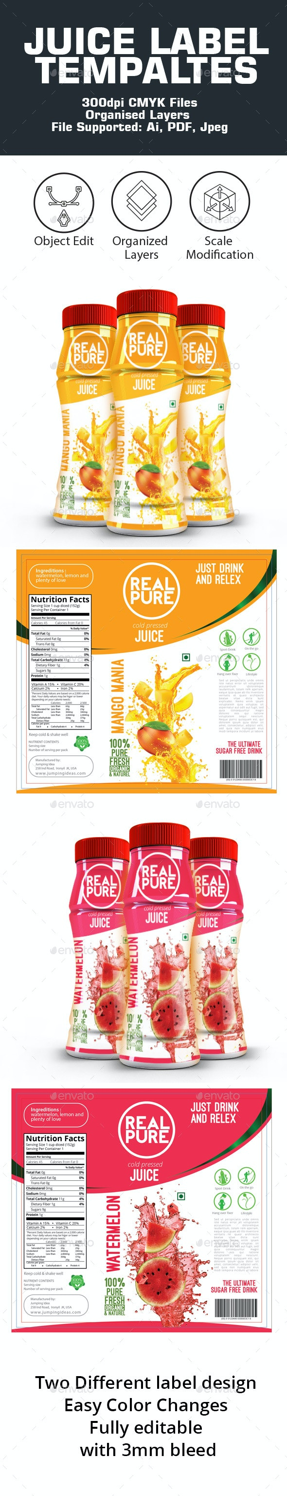 Juice Label Templates - Packaging Print Templates