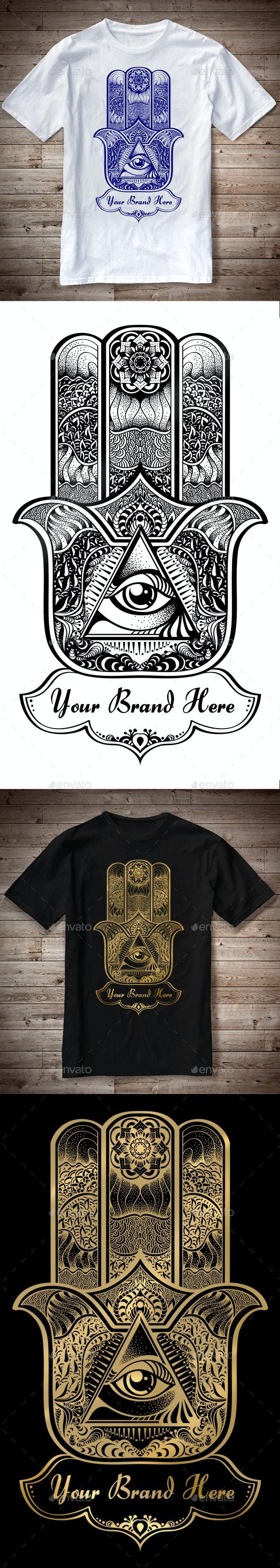 T-Shirt Illustration Hamsa Theme - T-Shirts