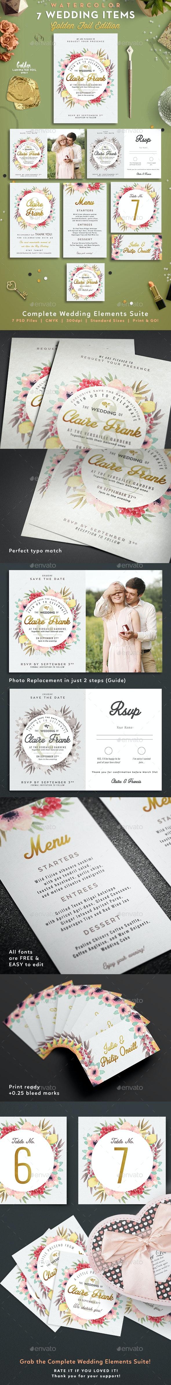 7 Watercolor Foliage Wedding Items - Invitations Cards & Invites