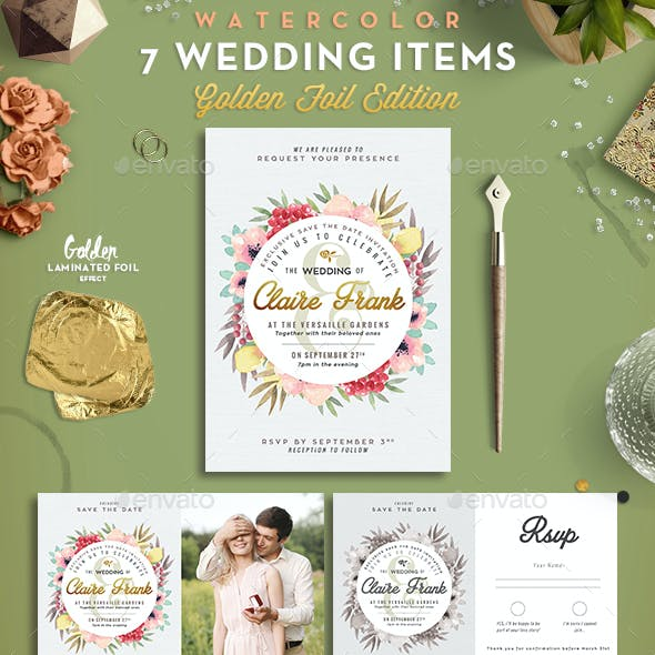 7 Watercolor Foliage Wedding Items
