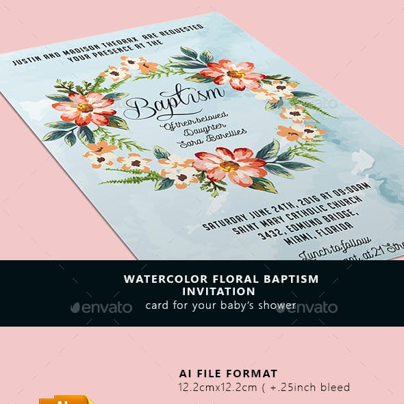 Watercolor Floral Baptism Invitation