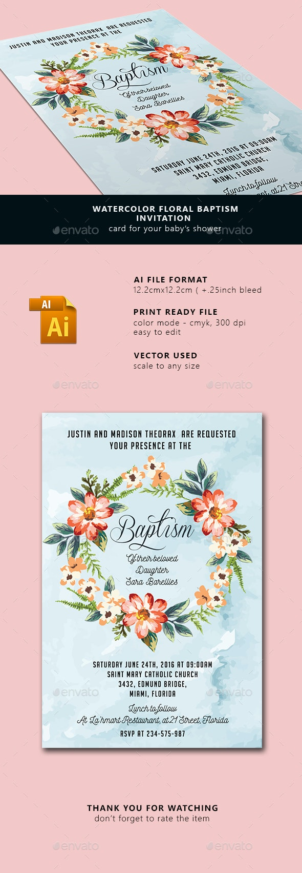 Watercolor Floral Baptism Invitation  - Cards & Invites Print Templates