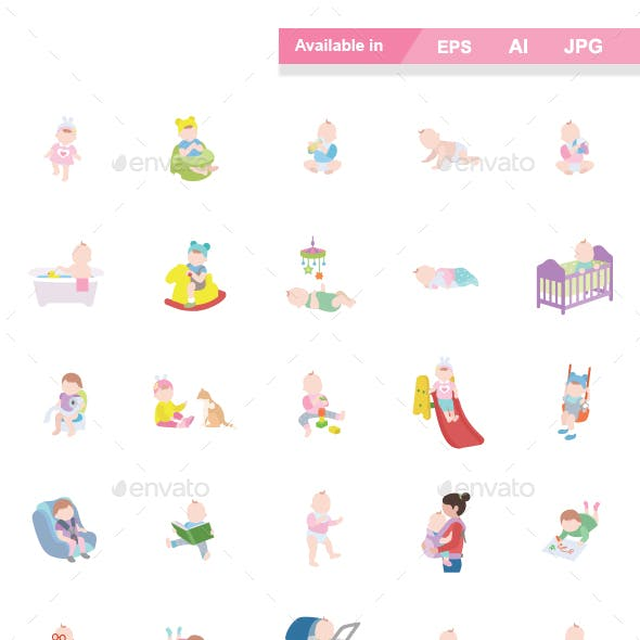Babies Color Vector Icons