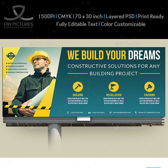 Construction Business Billboard Template Vol4