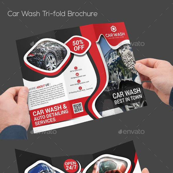 Car Wash Tri-fold Brochure