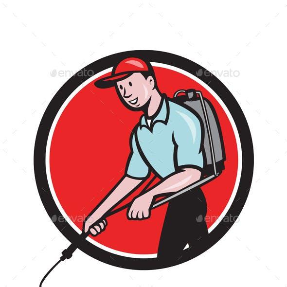 Pest Control Exterminator Spraying Circle Cartoon