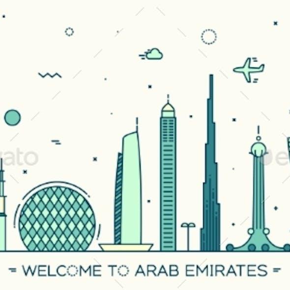 United Arab Emirates Skyline Vector Flat Style