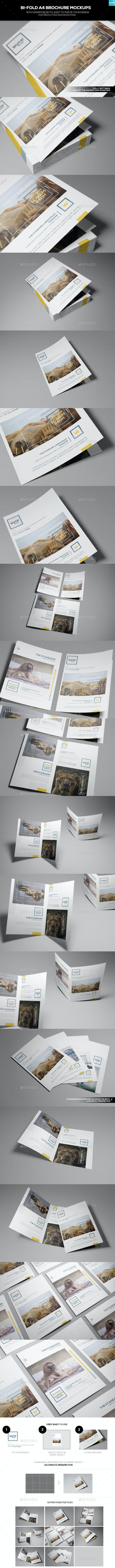 Bi-Fold A4 Brochure Mockups - Brochures Print