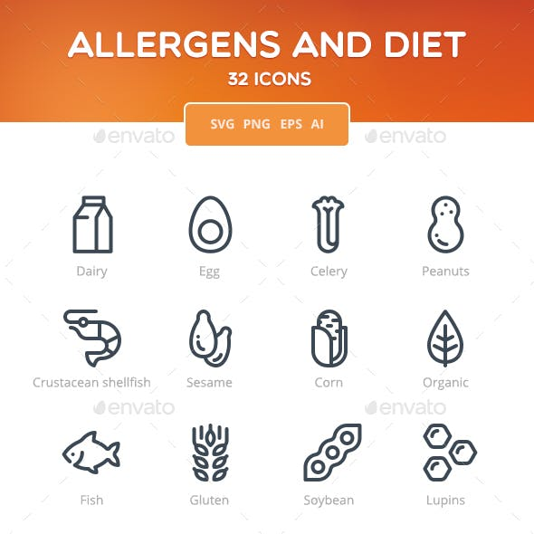 Allergens and Diet Icon Set