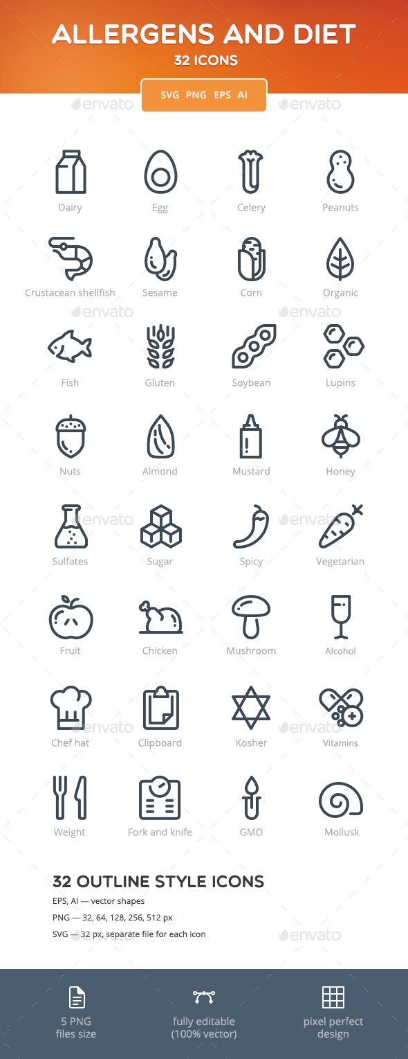 Allergens and Diet Icon Set - Food Objects