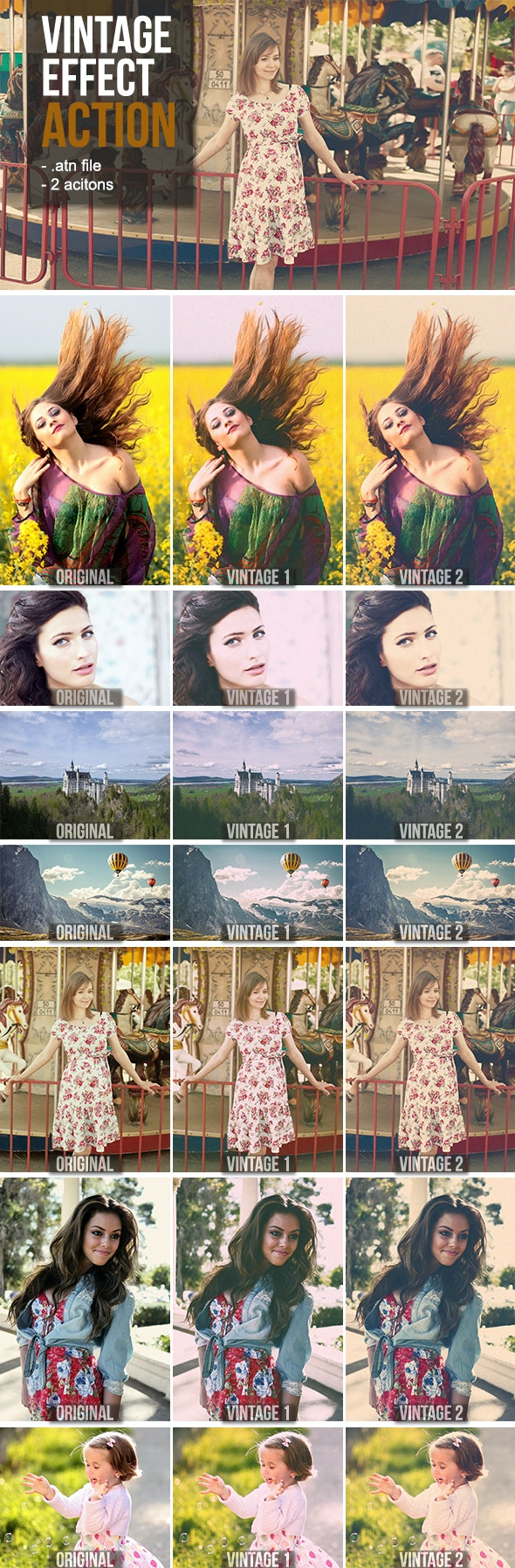 Vintage Photoshop Action Pack - Actions Photoshop