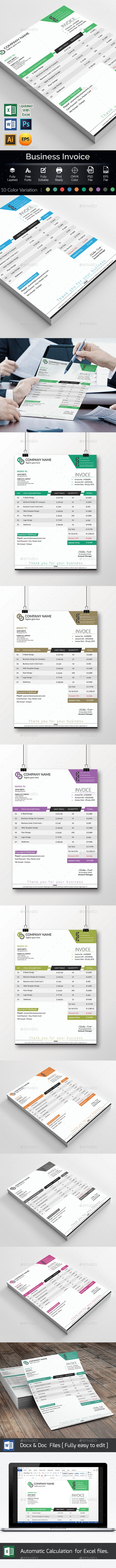 Invoice Template Excel - Proposals & Invoices Stationery