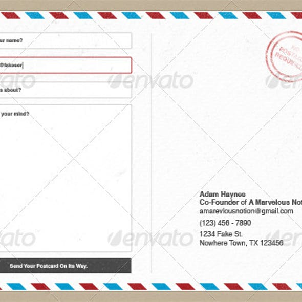 Post Card Contact Form