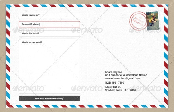 Post Card Contact Form - Forms Web Elements