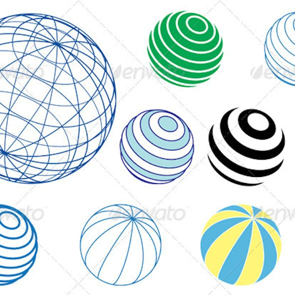 Set of Vector Globes and Balls