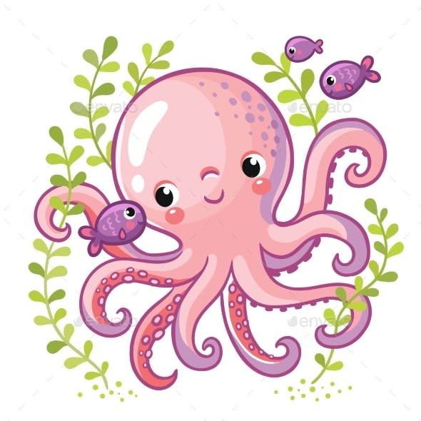 Cartoon Young Octopus