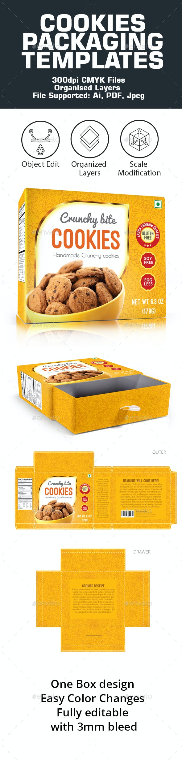 Cookies Packaging Template - Packaging Print Templates
