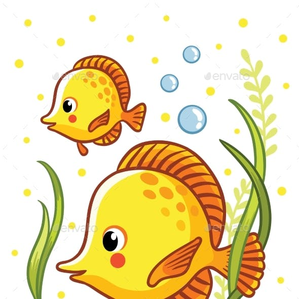 Sea with Two Yellow Fishes