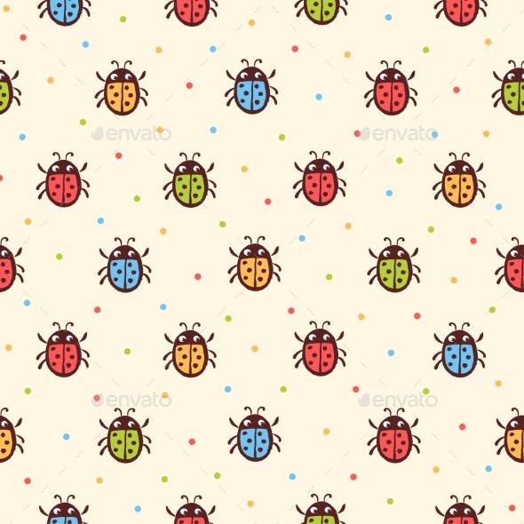 Seamless Childish Ladybugs  Pattern
