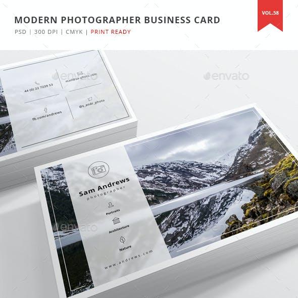 Modern Photographer Business Card - Vol. 58